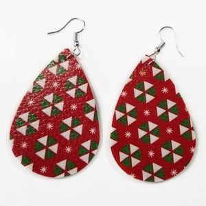 Teardrop Faux Leather Earrings